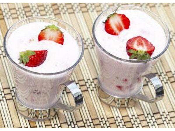 bebidas de proteína com morangos