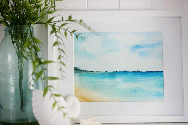 quadro enquadrado aquarela praia