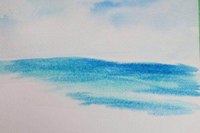 Pintura wet-on-wet vai fazer a pintura sangrar e novas cores vão formar.