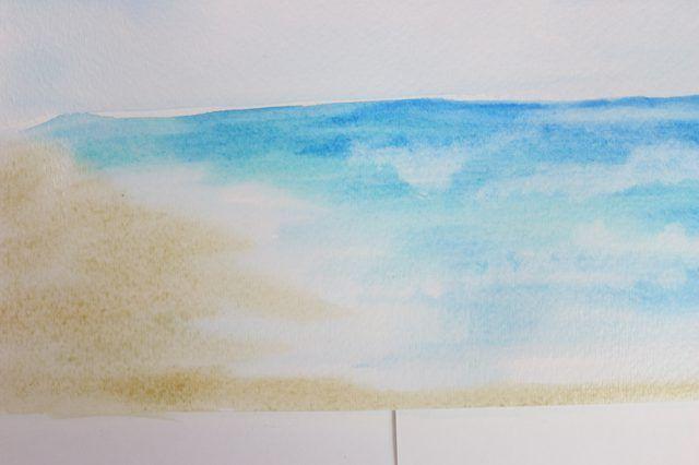 Use um Raw Sienna muito diluído para a areia.