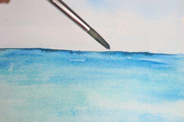 Pintura de uma paisagem horizonte na distância.