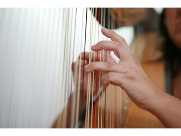 O moderno concerto harpa inclui cordas 47, sete pedais, um quadro, um tampo e uma base.