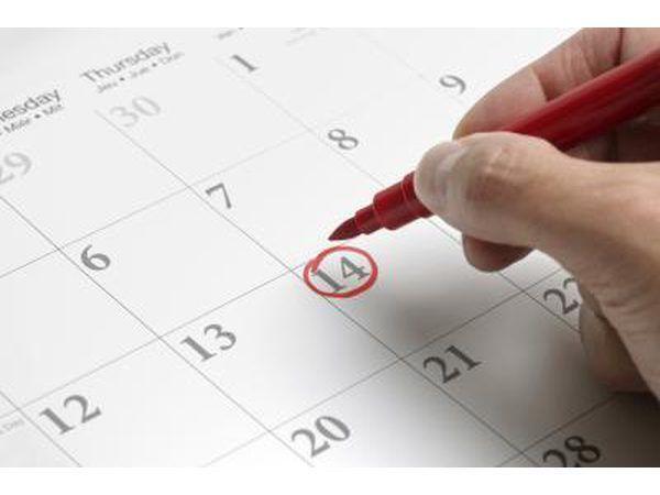 data no calendário marcação mulher