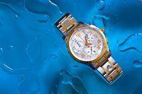 Relógio de pulso em uma superfície molhada.