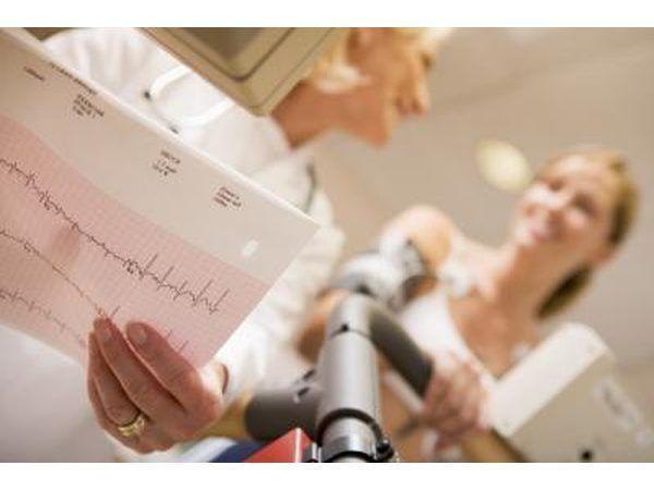 Leitura fêmea do doutor`s EKG results